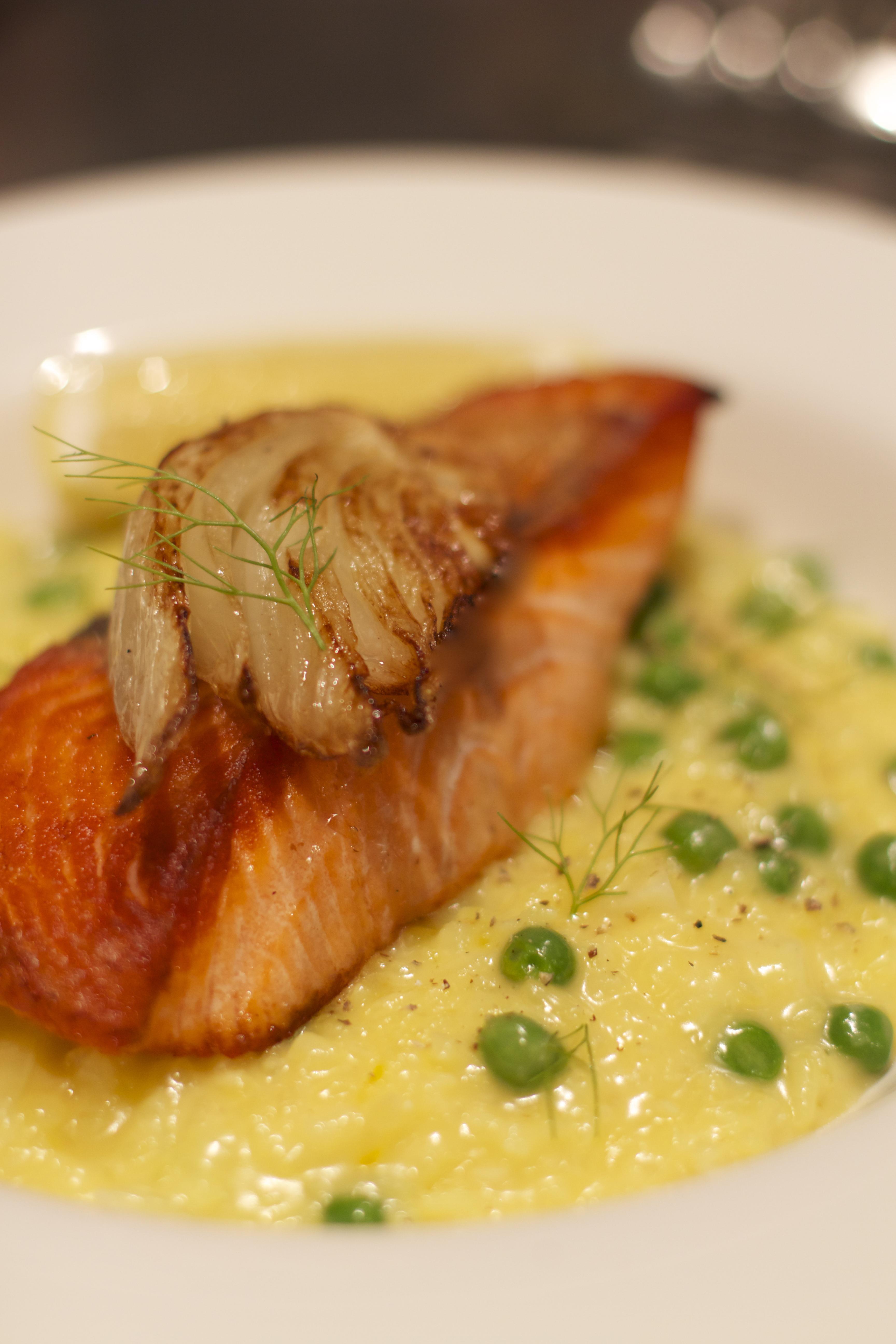 Crispy Skin Salmon Fennel Saffron And Green Pea Risotto
